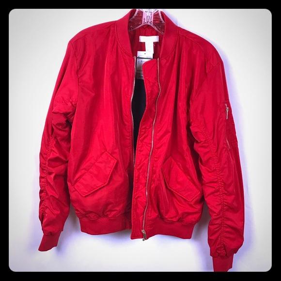0367c0582c0b H&M Jackets & Coats | Size 2 Hm Red James Dean Bomber Jacket | Poshmark